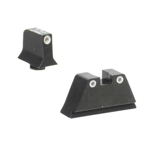 Trijicon Glock Suppressor Night Sight Set - White Outline Green Lamp
