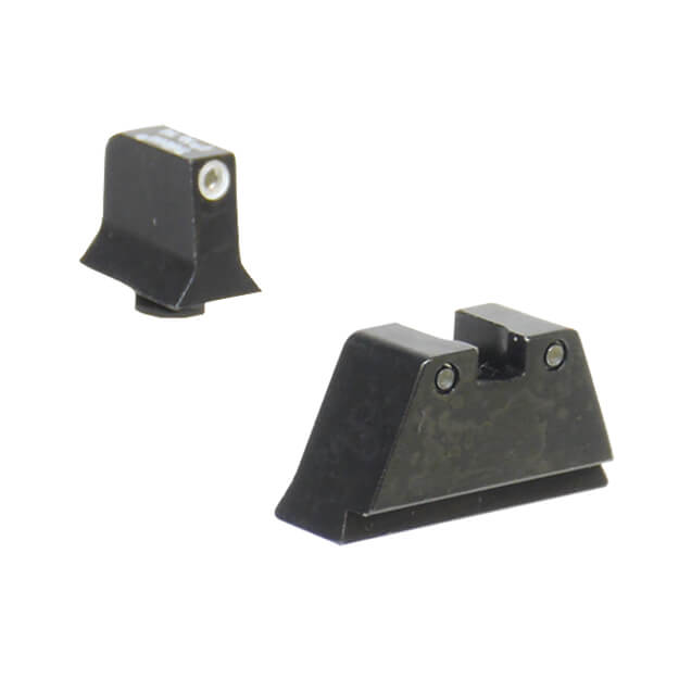 Trijicon Glock Suppressor Night Sight Set - White Outline Front Black Outline Rear Green Lamp