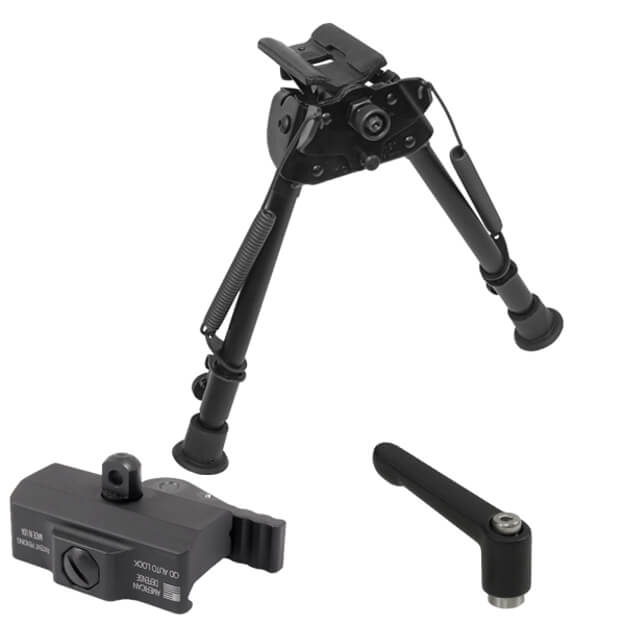 "Harris Swiveling Bipod 9""-13"" w/Leg Notches w/American Defense Bipod Mount & Tension Lever"