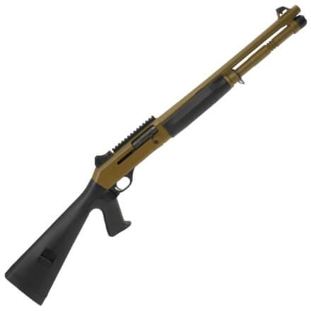 "Benelli 11791 M4 18.5"" 12GA - Pistol Grip Stock Ghost Ring Sights - Cerakote FDE - 5 Rd Magazine"