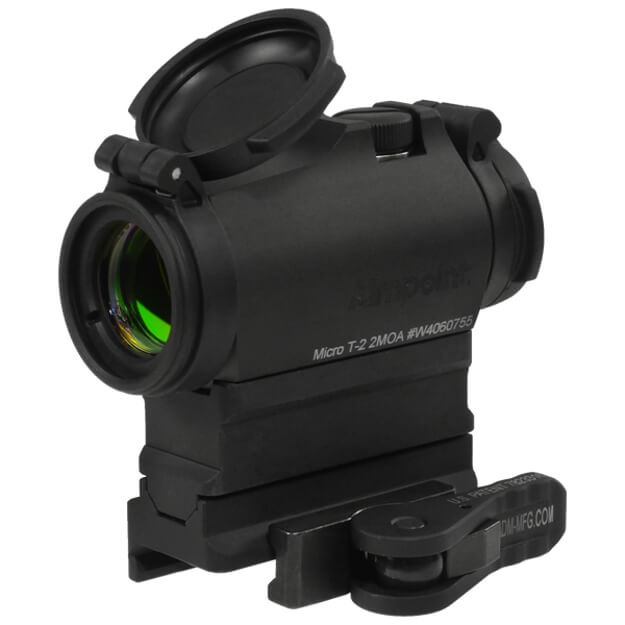 Aimpoint Micro T2 2MOA with American Defense Base and Riser - 1/3 Co-witness