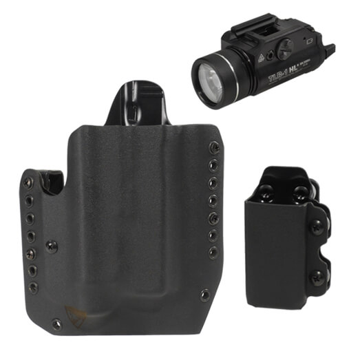 Alpha Glock 17/19 TLR-1 Light Holster RH w/ CDC-M Mag Carrier - Black & Streamlight TLR-1 HL Light