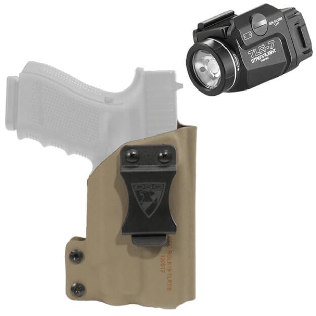 DSG CDC Holster Glock 19/23/32 RH E2 Tan includes Streamlight TLR-7 Tactical Light