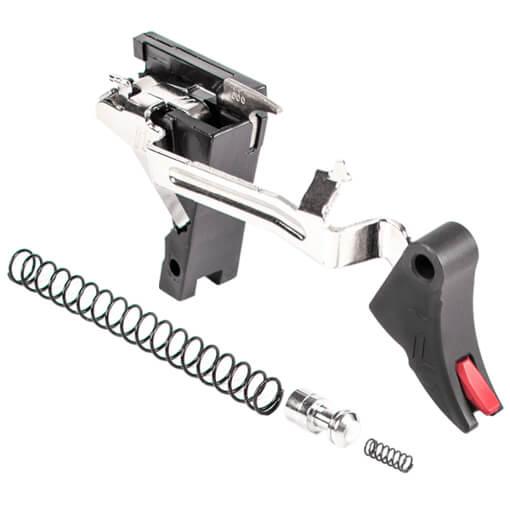 Zev PRO Curved Face Trigger Drop-In Kit Gen 1-3 9MM - Black/Red