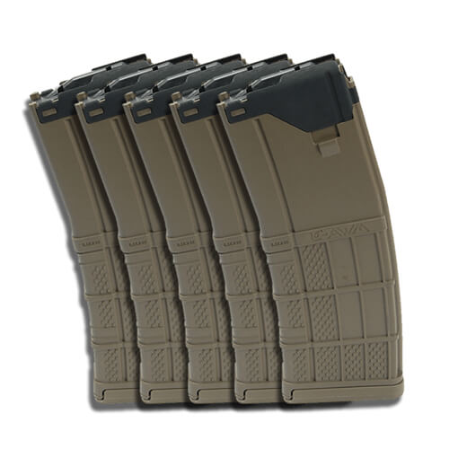 Lancer L5AWM 5.56mm 30rd Mag Opaque - Dark Earth - 5 Pack