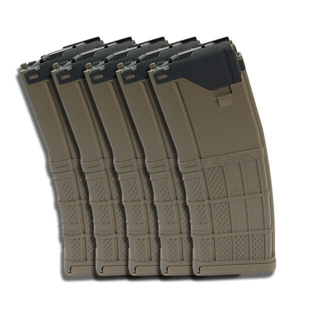 Lancer L5AWM 5.56mm 30rd Mag Opaque - Dark Earth - 5 Pack