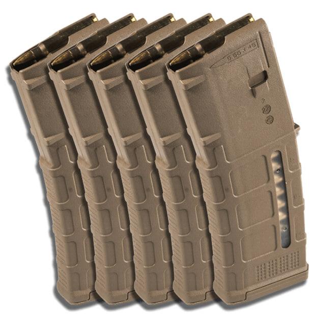 MAGPUL PMAG 30rd W/ Window GEN M3 - Medium Coyote Tan - 5 Pack