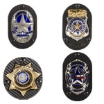 Badge Carriers - Clip-on Recessed Shield Cut w/ Custom Text