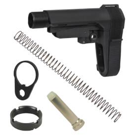 SB Tactical SBA3 5 Position AR Brace - Black w/ Buffer, Buffer Spring and QD End Plate