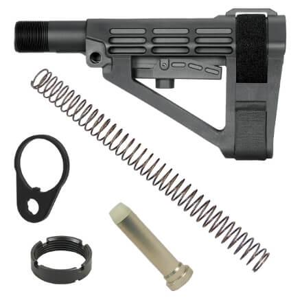 SB Tactical SBA4 Adjustable AR Brace - Black w/ Buffer, Buffer Spring and QD End Plate