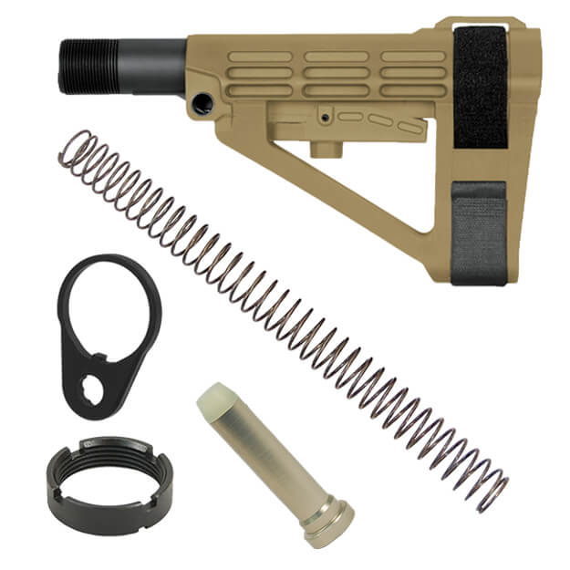 SB Tactical SBA4 Adjustable AR Brace - Dark Earth w/ Buffer, Buffer Spring and QD End Plate