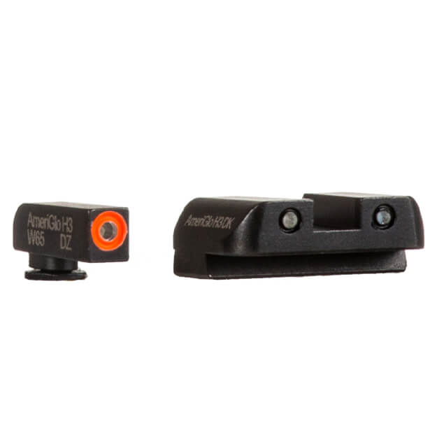 "AmeriGlo GLOCK 42/43/43x Spartan Tritium Sights - Orange Outlined .140"" Front / .160"" Two Dot Rear"
