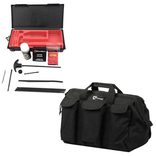 Picture of Drago Sportsman Pro Tool Bag - Black w/ KleenBore Classic Rifle Cleaning Kits .22/.223/5.56mm