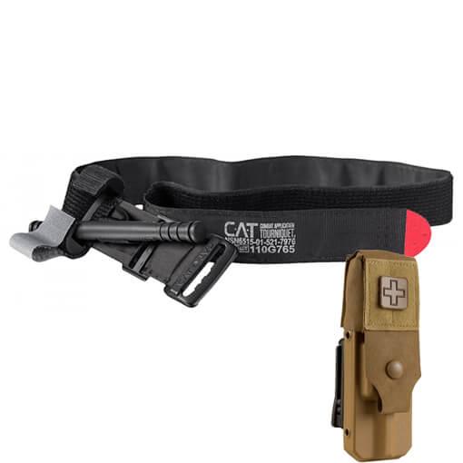 North American Rescue Rigid Gen 7 Tourniquet Case w/ Cover and CAT Tourniquet - Coyote