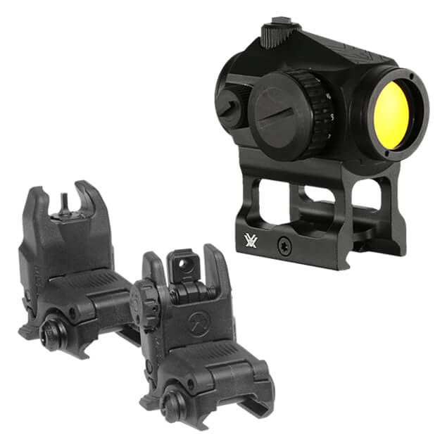 Vortex Crossfire 2 MOA Red Dot w/ Skeletonized Mount and Magpul Back-Up Sight Set Black