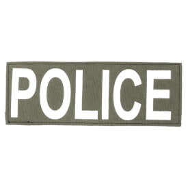 """Protech Tactical Large Police ID Patch 8.5""""x3""""  Olive Green w/ White Letters"""
