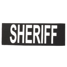 """Protech Tactical Large Sheriff ID Patch 8.5""""x3""""  Black w/ White Letters"""