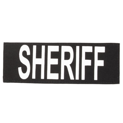 "Protech Tactical Large Sheriff ID Patch 8.5""x3""  Black w/ White Letters"