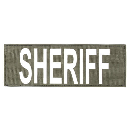 """Protech Tactical Large Sheriff ID Patch 8.5""""x3""""  OD Green w/ White Letters"""