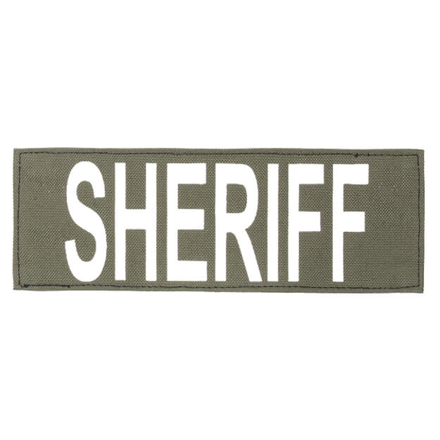 "Protech Tactical Large Sheriff ID Patch 8.5""x3""  OD Green w/ White Letters"