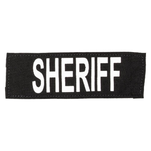 """Protech Tactical Small Sheriff ID Patch 6""""X2""""  Black w/ White Letters"""