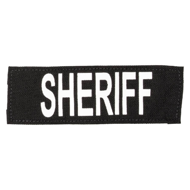 "Protech Tactical Small Sheriff ID Patch 6""X2""  Black w/ White Letters"