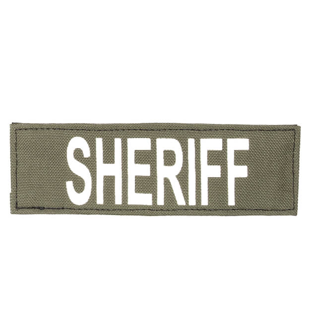 "Protech Tactical Small Sheriff ID Patch 6""X2""  OD Green w/ White Letters"