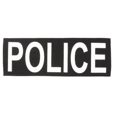 "Protech Tactical Large Police ID Patch 8.5""x3""  Black w/ White Letters"