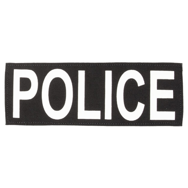"""Protech Tactical Large Police ID Patch 8.5""""x3""""  Black w/ White Letters"""