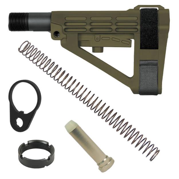 SB Tactical SBA4 Adjustable AR Brace - ODG w/ Buffer, Buffer Spring and QD End Plate